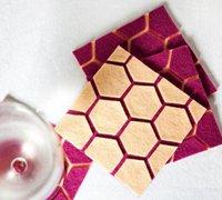 不织布拼贴而成的可爱六角创意杯垫