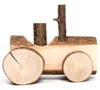 非常有创意的田园风原木质感玩具摆件