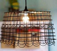 自行车篮子废物利用制作创意吊灯灯罩