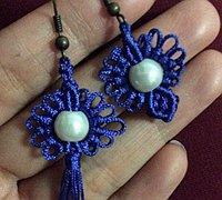 雀头结和斜卷结编织漂亮的向阳花中国结耳环