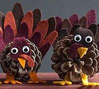 松果火鸡制作diy 松塔制作可爱的小火鸡