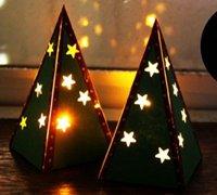 美丽的迷你圣诞树小夜灯纸艺手工制作