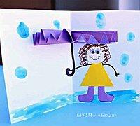打着雨伞的小女孩创意立体贺卡制作