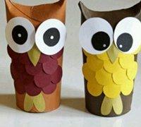 卷纸筒废物利用制作可爱的猫头鹰玩偶