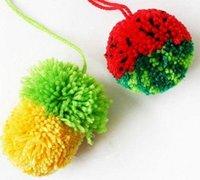西瓜、菠萝毛线绒球的做法