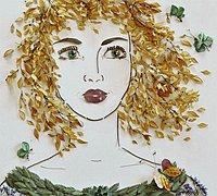 植物的花朵和叶子拼贴女性人物肖像画diy过程