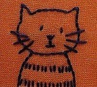 一组可爱的小动物刺绣简笔画