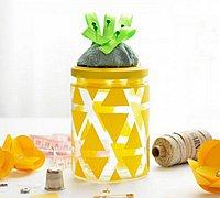 旧瓶子改造带针插的菠萝收纳瓶教程图解
