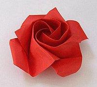 纸玫瑰的简单折法 川崎纸玫瑰折法图解
