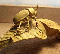 枯叶甲虫手工木雕教程