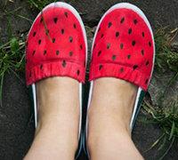 手绘帆布鞋教程 diy西瓜图案彩绘鞋