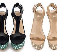 防水台高跟鞋创意彩绘变身时尚波点高跟鞋
