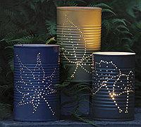 铁皮罐头盒子diy树叶图案蜡烛台