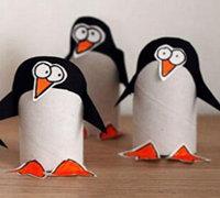 纸巾筒做小动物 卫生纸筒手工制作可爱的小企鹅