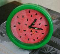 西瓜时钟DIY 西瓜色创意时钟改造教程