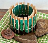 创意DIY 木夹子制作蜡烛罐