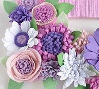 七种不织布花朵教程图解及组合不织布花环
