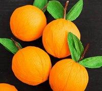 用皱纹纸DIY一盘果香四益的纸艺柑橘