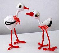 毛线和铁丝手工制作可爱小白鹭玩偶