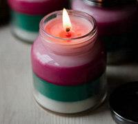 四层颜色的彩色手工蜡烛制作方法