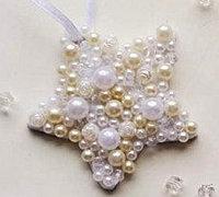 不织布和珍珠diy唯美星星挂饰