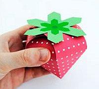草莓形状的礼品盒DIY模板教程