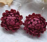 麦秆菊软陶花朵耳环制作教程