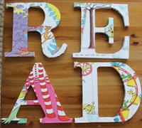 彩页+硬纸板制作英文字母创意墙面装饰