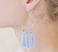 彩色绣线和方形铜珠diy短款铜珠流苏耳环