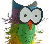 卷纸筒和彩纸diy多彩的猫头鹰玩偶