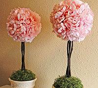 雅致的树型牡丹花球装饰盆栽的制作方法