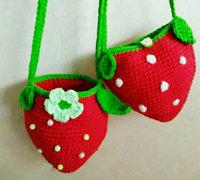 钩针编织超可爱草莓小包教程