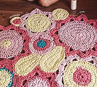 手工钩针编织地毯图解教程和图纸花样