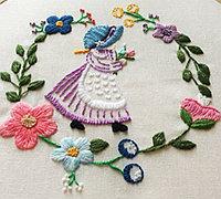 美丽的花环姑娘手工刺绣教程