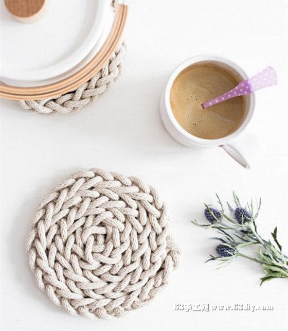 用棉绳手工编织简约风杯垫 杯垫编绳diy教程