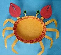 彩色卡纸制作可爱的小螃蟹 儿童手工小动物制作