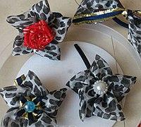 丝带花朵制作图解之豹纹花朵头饰