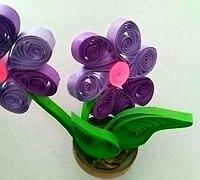 紫色小草花立体小盆栽衍纸手工制作教程