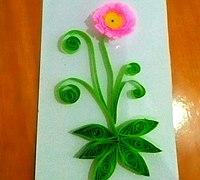 粉色芙蓉衍纸教程 DIY芙蓉花衍纸贺卡