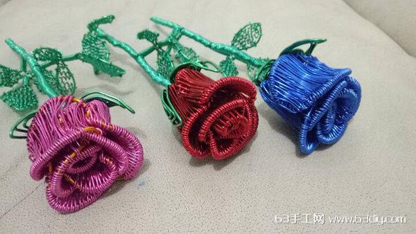 用铝线手工制作玫瑰花图解步骤