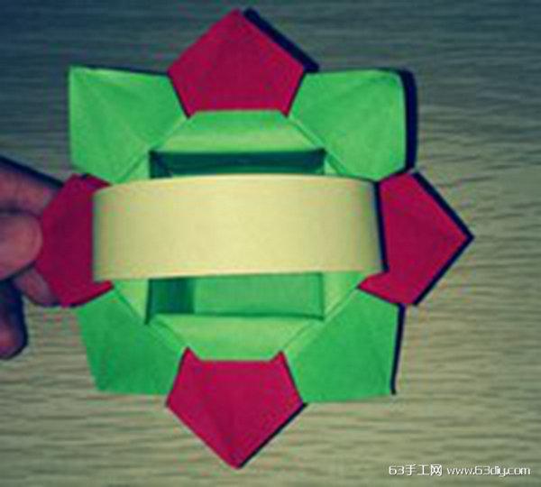 彩色纸花篮的折法 简单小篮子折纸
