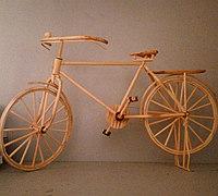 竹签制作仿古单车 自行车模型diy教程
