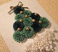 衍纸小花球diy立体圣诞树贺卡