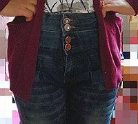 低腰牛仔裤改造成高腰裤教程