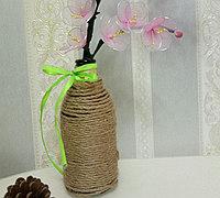麻绳缠绕玻璃瓶制作田园风花瓶