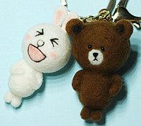 布朗熊和可妮兔羊毛毡挂饰制作教程