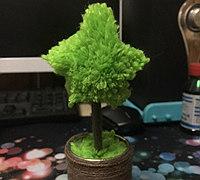 毛线制作绒线球版植物小盆栽