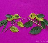 谈心的小鸟树叶拼贴画教程