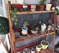 用木板自制实用的阳台花架