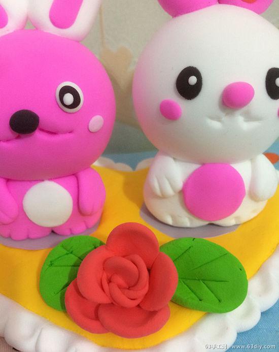萌宠可爱的情人节情侣小兔子粘土制作